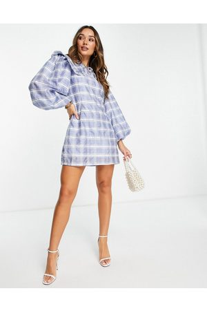 Ghospell Mulher Vestidos Casual - Mini smock dress with oversized collar in blue check