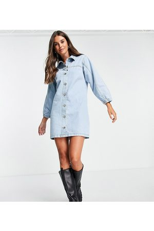 Missguided Light wash denim fitted dress in blue