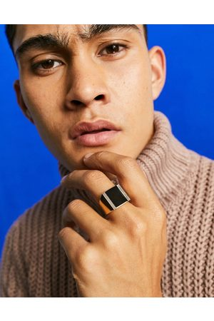 ASOS Oversized signet ring with black agate stone in gold tone