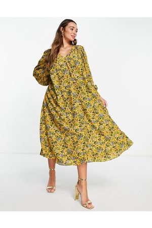ASOS Trapeze midi dress in floral print-Yellow