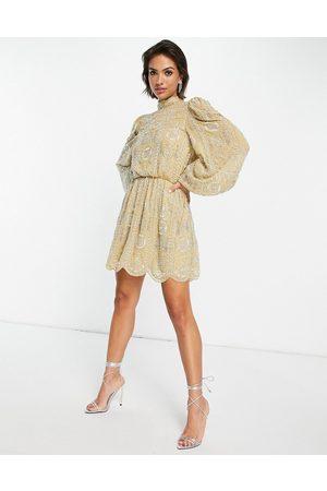 ASOS Pretty embellished mini skater dress in buttermilk-Yellow