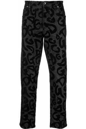 Dolce & Gabbana Homem Retos - Flocked-logo straight-leg jeans