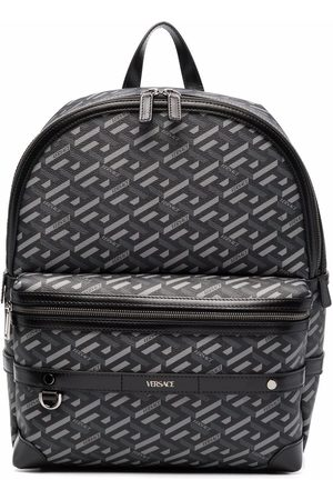 VERSACE Logo-print leather backpack