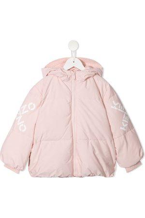 Kenzo Menina Casacos - Logo-print hooded puffer jacket