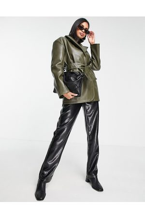 ASOS Faux leather belted grandad jacket in olive-Green