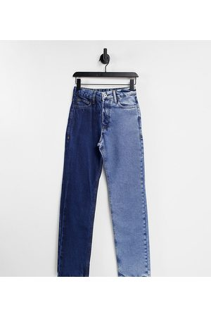 COLLUSION X000 Unisex straight leg half and half jeans-Blue