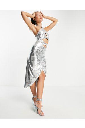 Virgos Mulher Vestidos de Festa - V L the Label ruched halter neck midi dress in silver