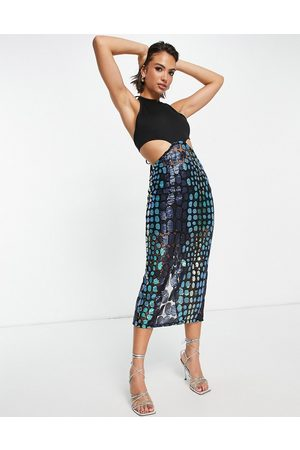 Virgos VL the Label halter neck midi dress with sheer skirt in metallic-Black