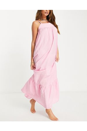 ASOS Tiered maxi beach dress in pink