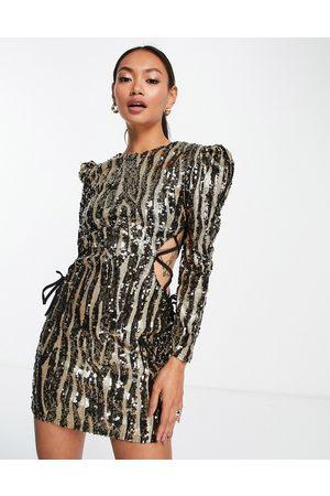 Virgos Mulher Vestidos de Festa - VL the Label lace sided sequin mini dress in metallic-Silver