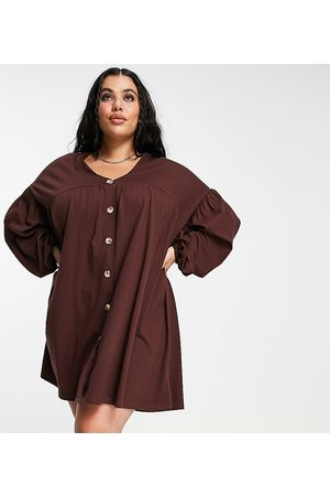 ASOS ASOS DESIGN Curve button through mini smock dress with long sleeves in chocolate brown