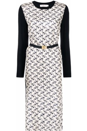 Tory Burch Mulher Camisolas - Embroidered belted silk jumper dress