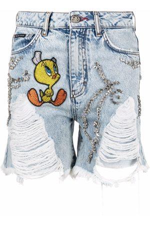 Philipp Plein Looney Tunes-embellished denim shorts
