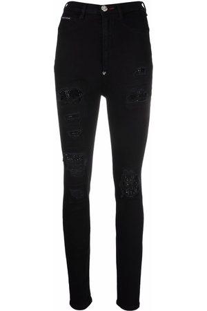 Philipp Plein Super high waist destroyed skinny jeans