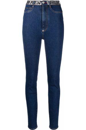 Philipp Plein Mulher Skinny - Logo-embellished skinny-leg jeans