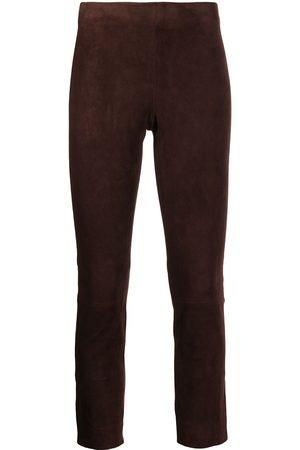 Vince Mulher Calças em Pele - Suede cropped trousers
