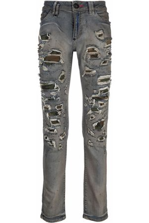 Philipp Plein Homem Slim - Camouflage-print slim-fit jeans