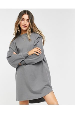 ASOS Oversized sweat smock back dress in charcoal grey