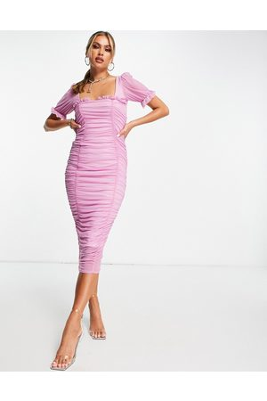 ASOS Mulher Vestidos de Festa - Super ruched frill detail midi dress in lilac-Purple