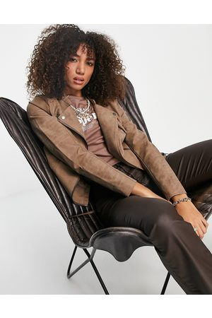 ONLY Faux leather jacket in brown