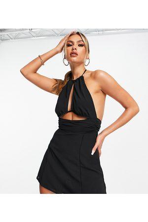 AsYou High neck halter mini dress in black