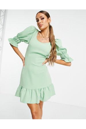 NA-KD Mulher Vestidos de Festa - Cut out side volume sleeve mini dress in dusty green