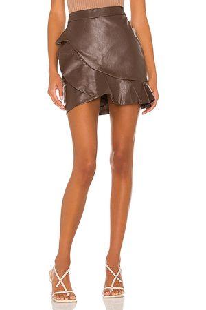 MAJORELLE Poseidon Mini Skirt in - Chocolate. Size L (also in XXS, XS, S, M, XL).
