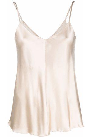 12 STOREEZ Mulher Tops de Cavas - V-back silk camisole