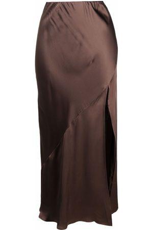 12 STOREEZ Side-slit detail silk skirt