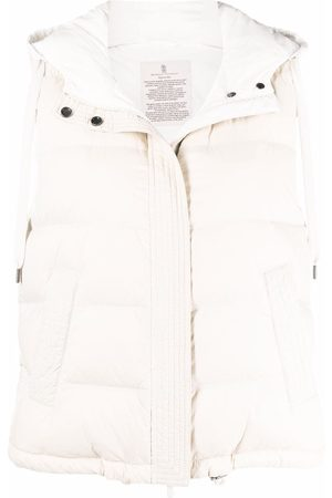 Brunello Cucinelli Mulher Coletes - Padded hooded gilet