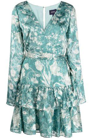Marchesa Notte Floral-print V-neck mini dress
