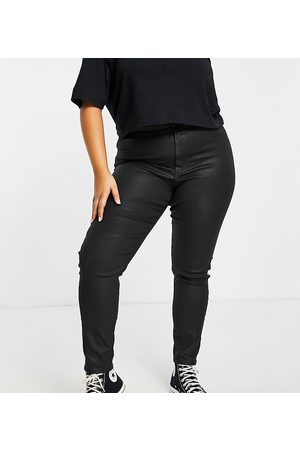 ASOS Mulher Skinny - ASOS DESIGN Curve high rise ridley 'skinny' jeans in coated black