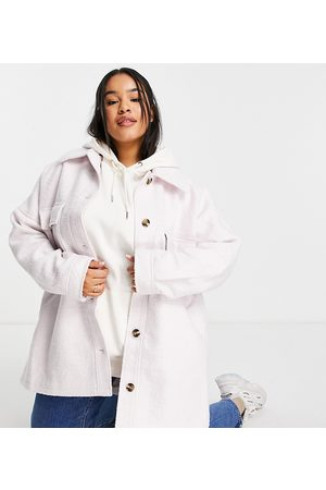 Missguided Mulher Casacos - Brushed boxy shacket in lilac-Purple
