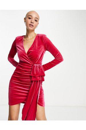 Style Cheat Mulher Vestidos de Festa - Velvet drape mini dress in hot pink