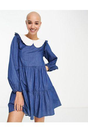 Outrageous Fortune Denim mini dress white collar in blue