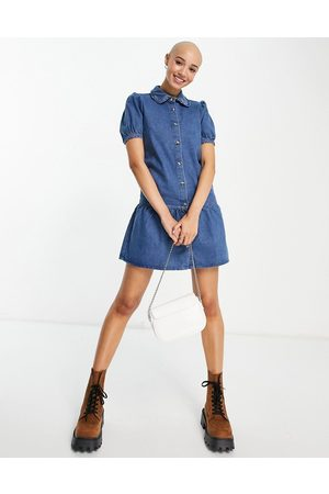 Miss Selfridge Mulher Vestidos Casual - Denim frill collared dress in blue