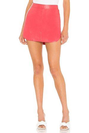 Karina Grimaldi Simon Leather Skirt in - Coral. Size L (also in XS, S, M).