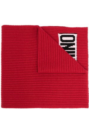 Moschino Logo-knit ribbed scarf