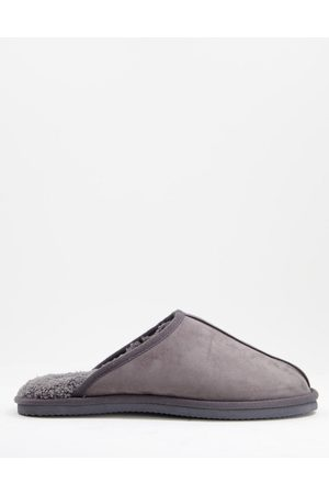 JACK & JONES Homem Conforto - Faux suede slippers in grey