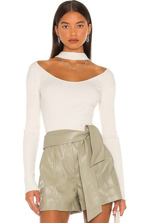 JONATHAN SIMKHAI Leah Twisted Cable Halter Top in - Ivory. Size L (also in XS, S, M).