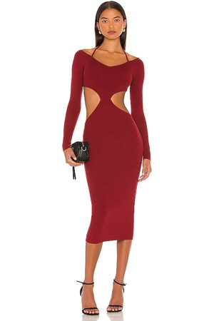 NBD Yael Cut Out Halter Dress in - Burgundy. Size L (also in XXS, XS, S, M, XL).