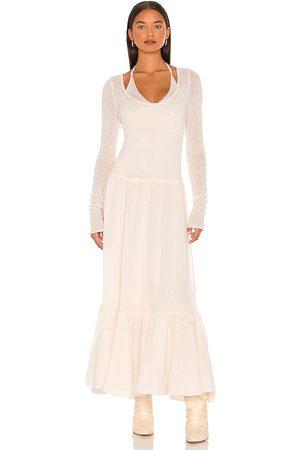 JONATHAN SIMKHAI Mulher Vestidos Compridos - Alessia Sheer Alpaca Maxi Dress in - Ivory. Size L (also in XS, S, M).