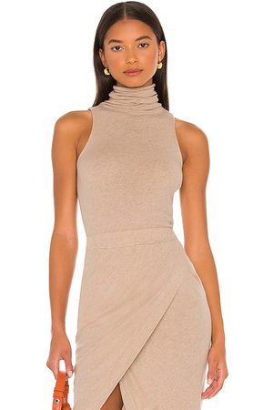ENZA COSTA Cashmere Halter Turtleneck in - Taupe. Size L (also in XS, S, M).