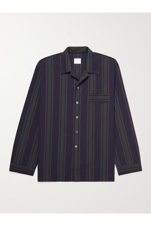 L.E.J Camp-Collar Striped Cotton and Silk-Blend Shirt
