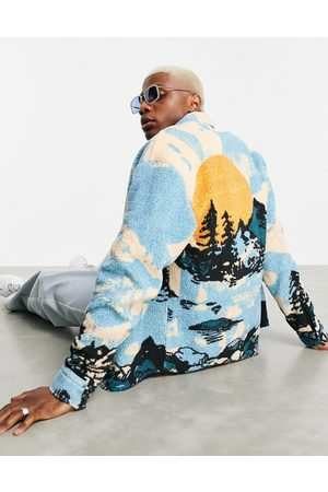 ASOS Homem Casual - 90s oversized shirt in teddy borg with mountain print-Multi