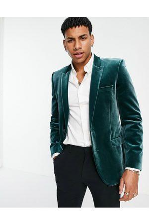ASOS Homem Blazers - Super skinny velvet blazer in green