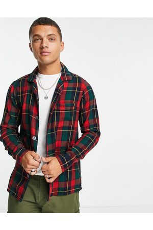 Polo Ralph Lauren Homem Casual - Check luxury flannel overshirt jacket classic oversized fit in red