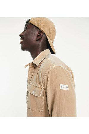 Polo Ralph Lauren Homem Casual - X ASOS exclusive collab cord overshirt in tan with pockts and arm tab logo-Neutral