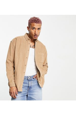 ASOS Homem Casual - 90s oversized cord shirt in beige-Neutral