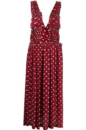 Comme des Garçons Polka dot-print maxi skirt with straps